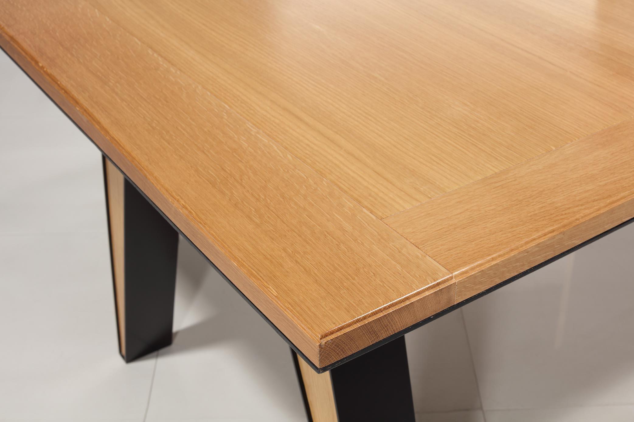table rectangulaire 180x100 en ch ne massif 1 allonge portefeuille de 90 cm pieds fer et bois. Black Bedroom Furniture Sets. Home Design Ideas