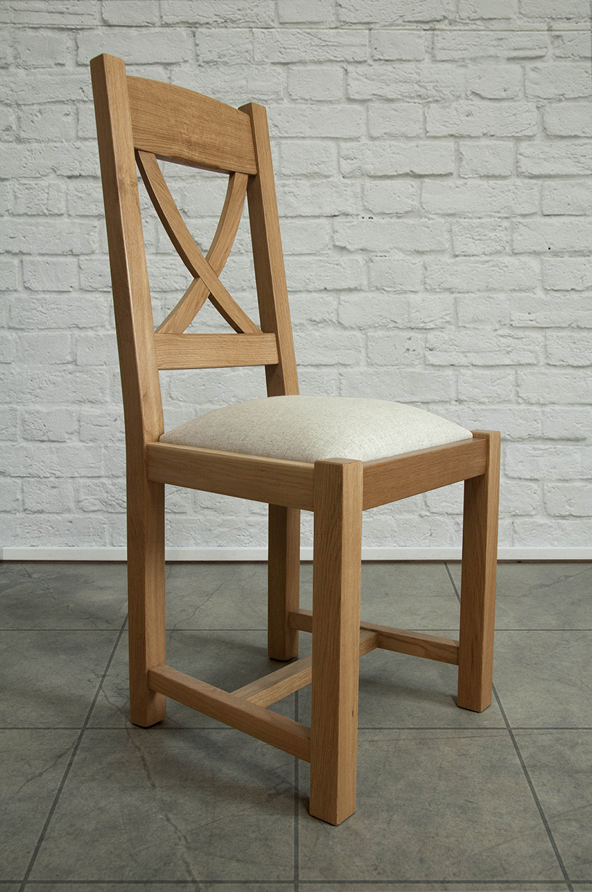 chaise olivier en ch ne massif de style campagne assise tissu meuble en ch ne massif. Black Bedroom Furniture Sets. Home Design Ideas