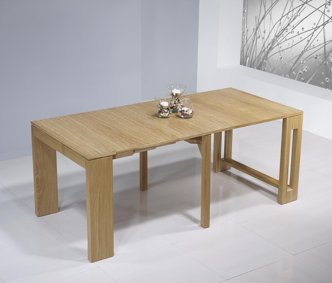 Console extensible en ch ne de ligne contemporaine 3 for Table contemporaine extensible
