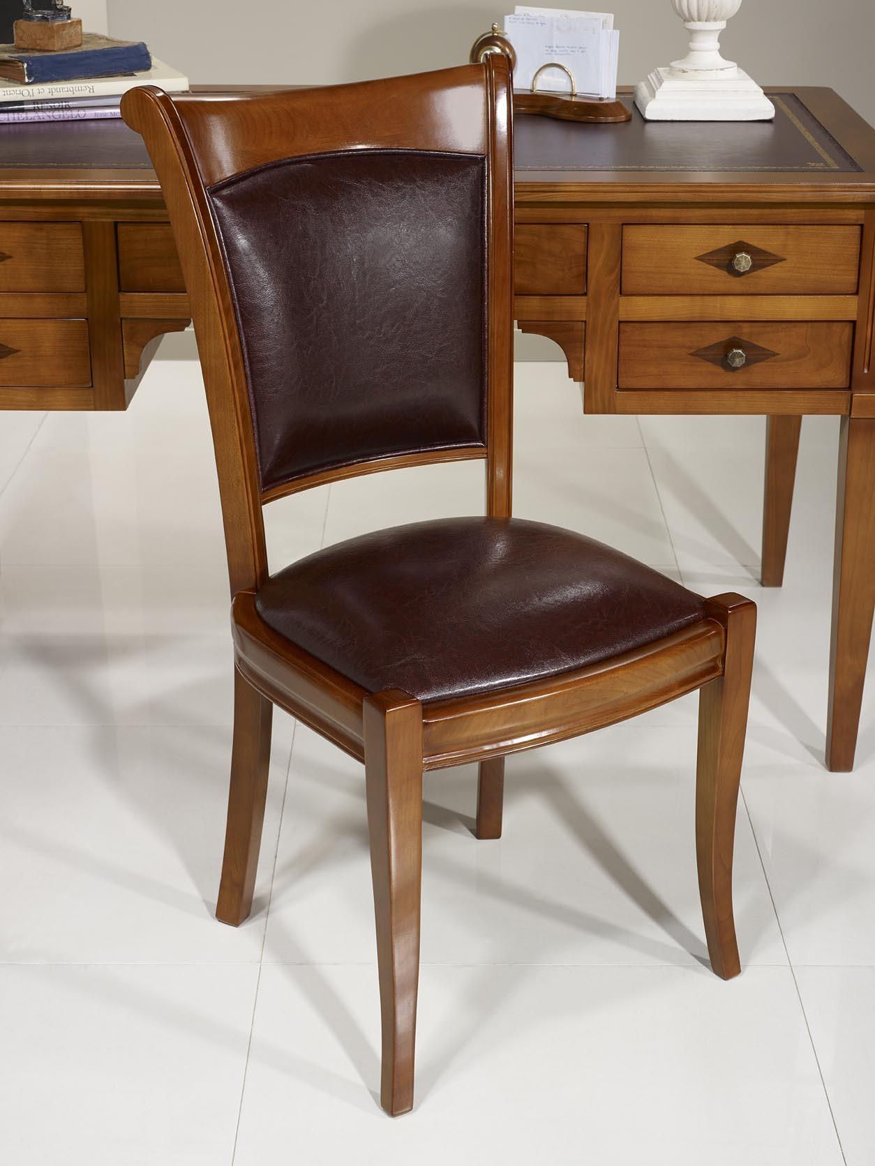 Chaise ine en merisier massif de style louis philippe for Chaise meuble