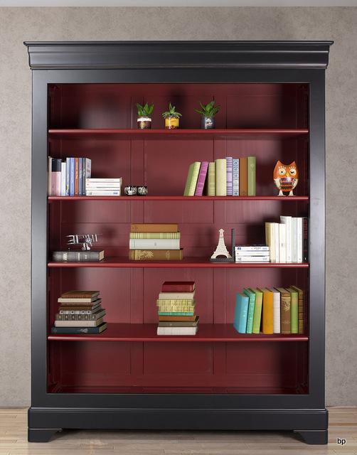 biblioth que en merisier massif de style louis philippe finition noir et bordeaux patin. Black Bedroom Furniture Sets. Home Design Ideas