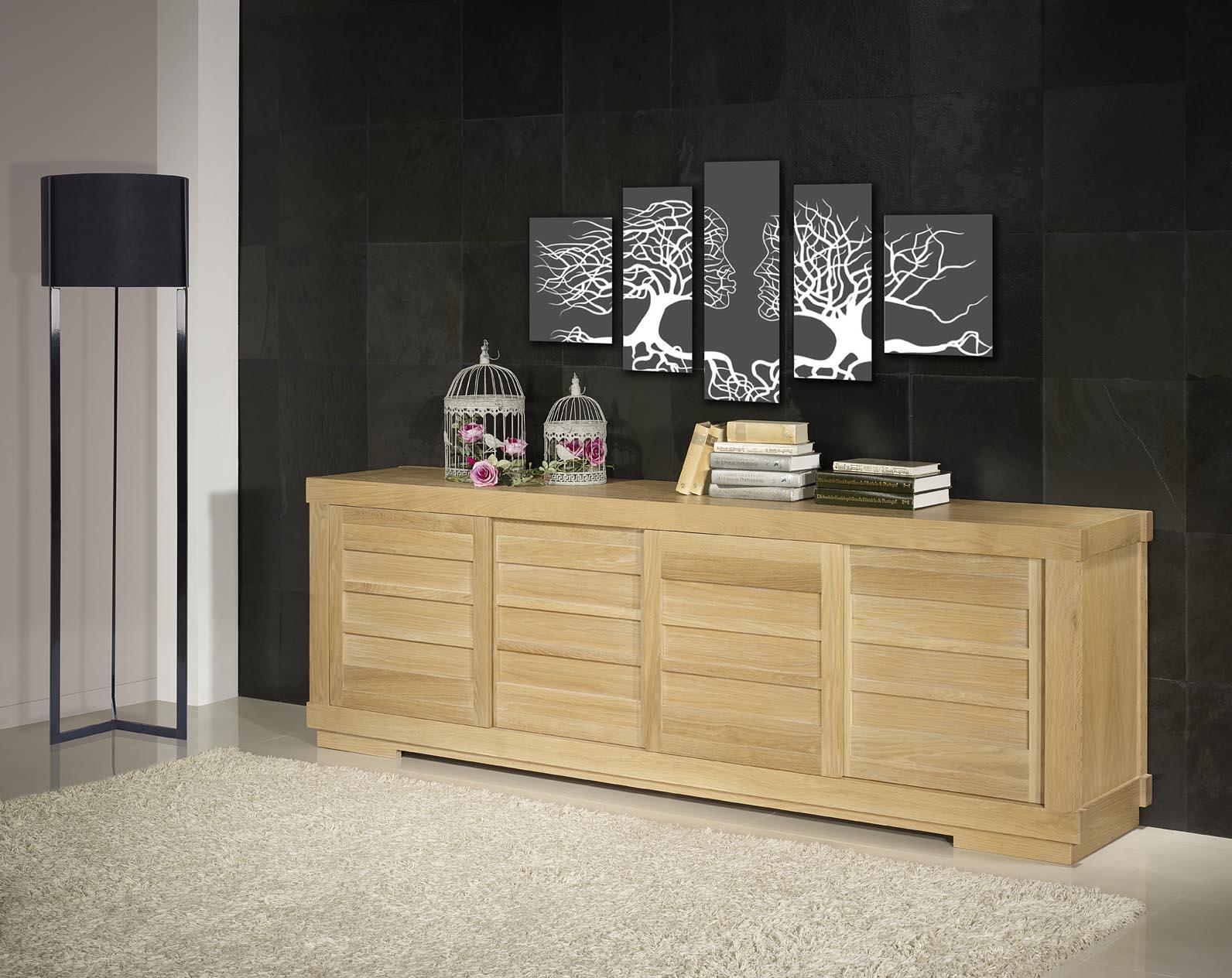 buffet 4 portes coulissantes en ch ne massif de style. Black Bedroom Furniture Sets. Home Design Ideas