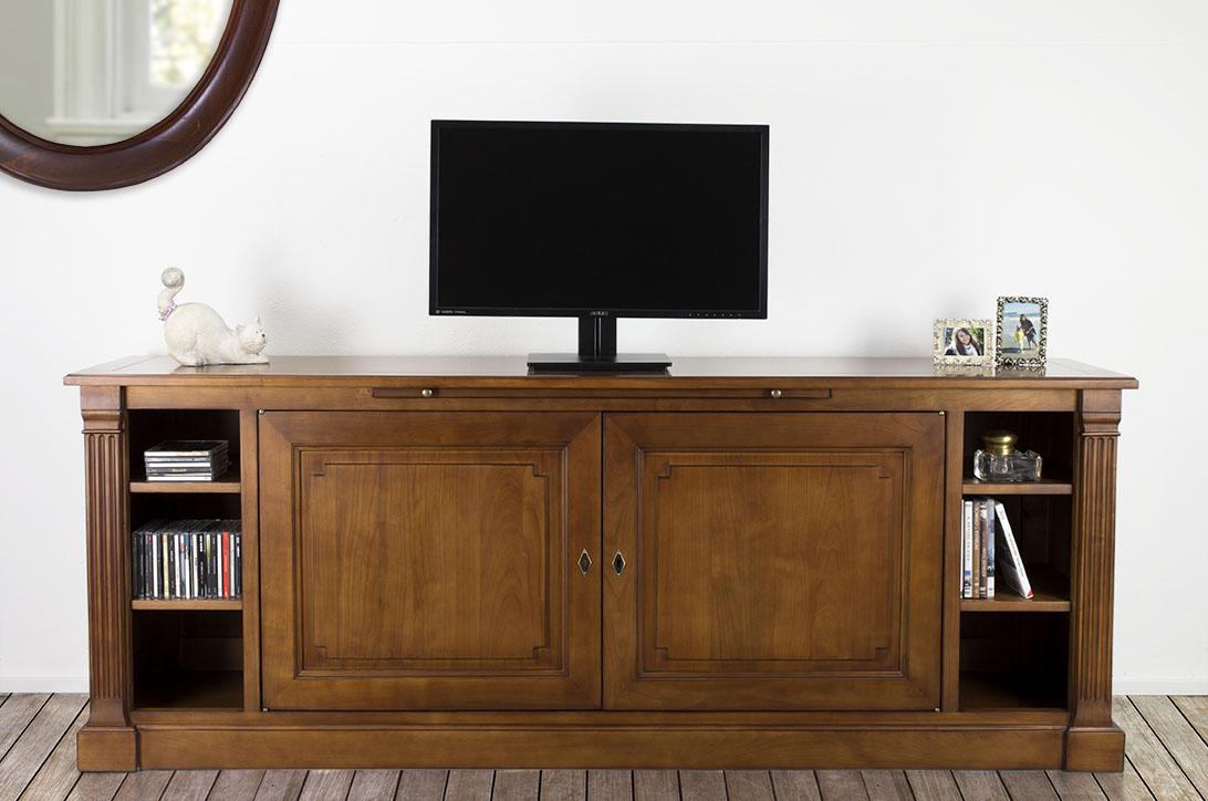 Meuble tv lucie en merisier de style directoire finition for Finition de meuble en bois
