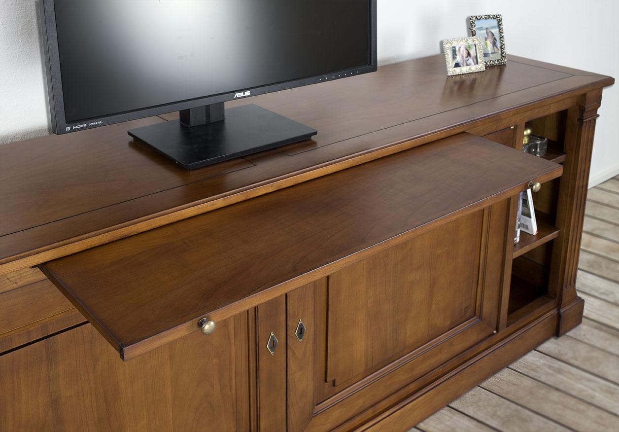 meuble tv lucie en merisier de style directoire finition merisier antik meuble en merisier massif. Black Bedroom Furniture Sets. Home Design Ideas