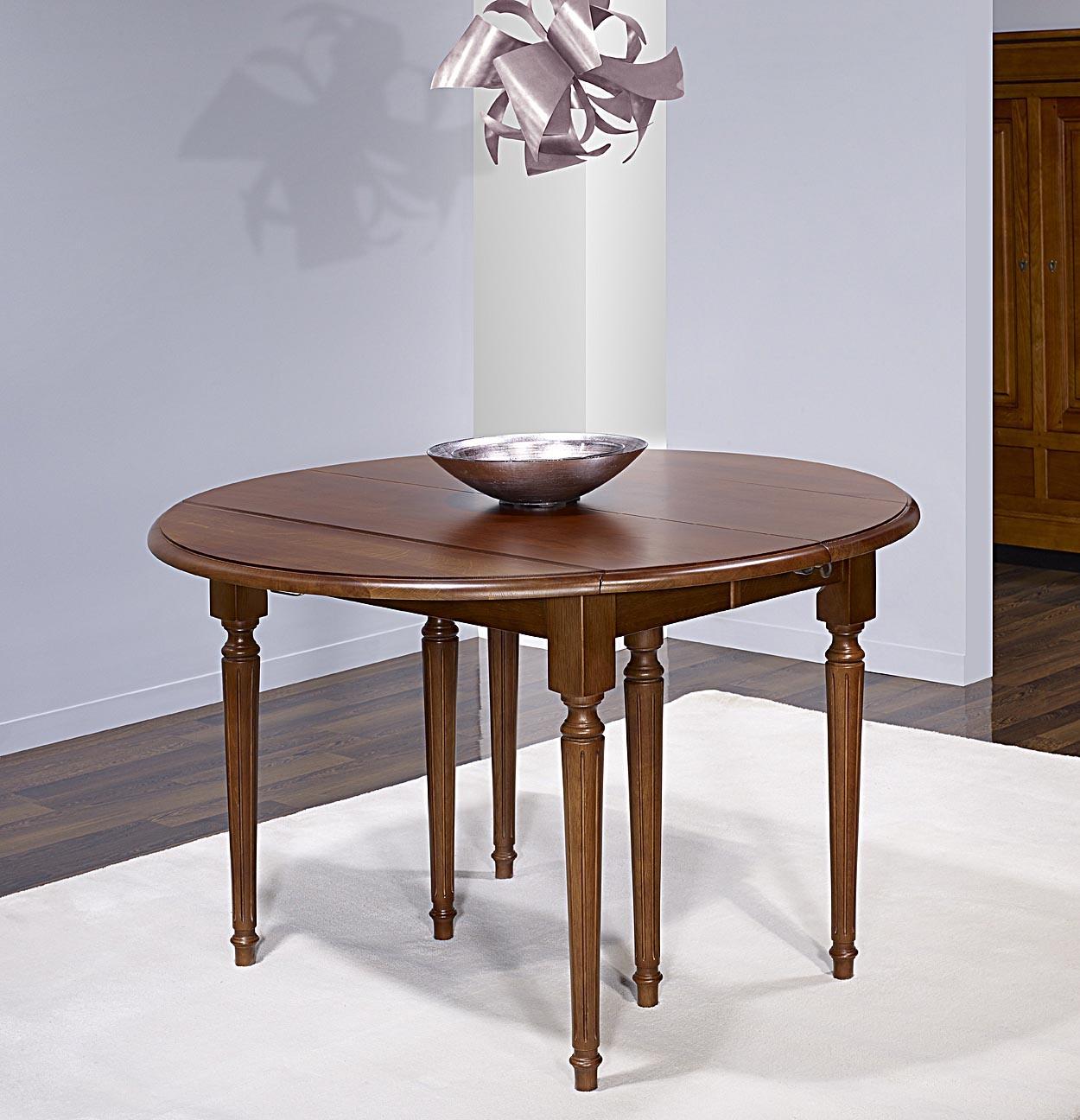 Table ronde volets vera en ch ne massif de style louis - Table ronde chene massif avec allonges ...