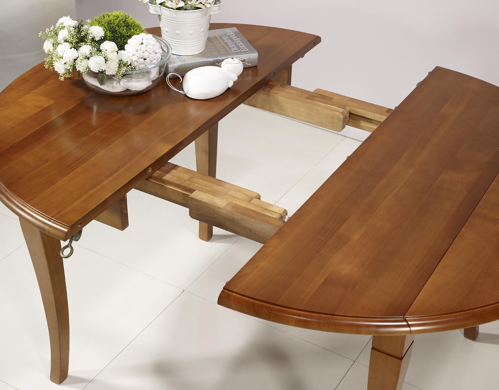 Table ronde volets en merisier massif de style louis for Tables rondes en bois massif