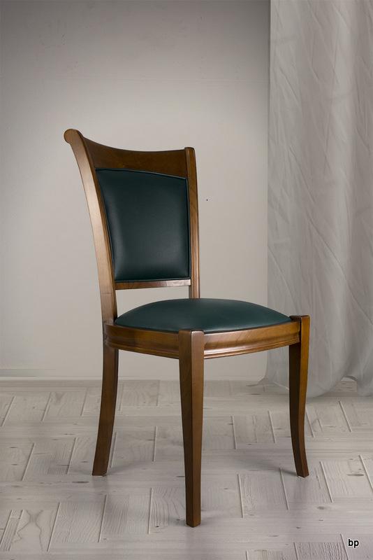 chaise ine en merisier massif de style louis philippe moleskine vert anglais meuble en. Black Bedroom Furniture Sets. Home Design Ideas