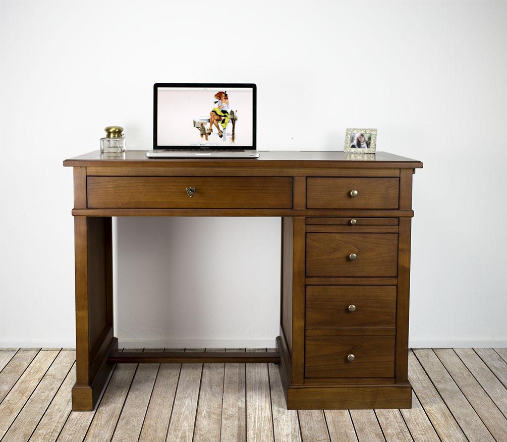 Petit bureau lucie en merisier de style louis philippe plateau merisier avec finition antik - Petit meuble merisier louis philippe ...
