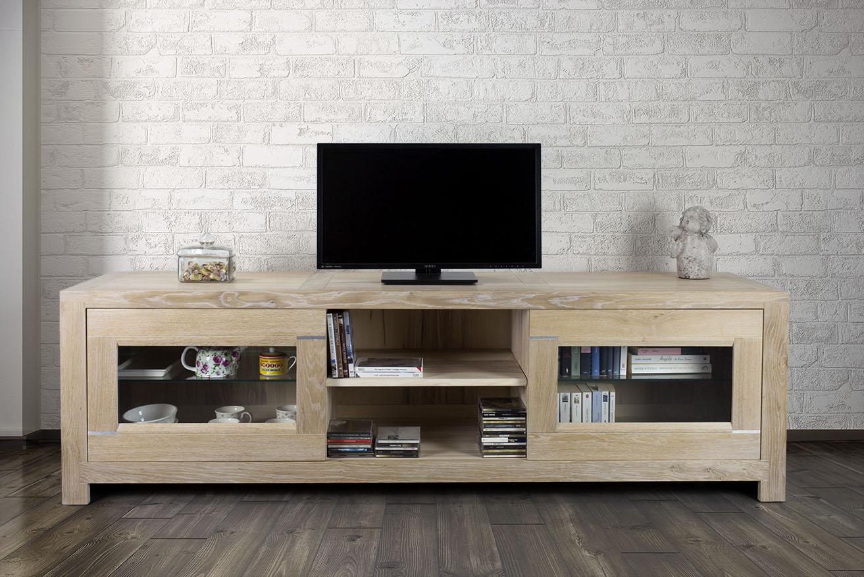 Meuble Tv 2 Portes Vitr Es Loann En Ch Ne Massif De Style  # Meuble Tv De Style