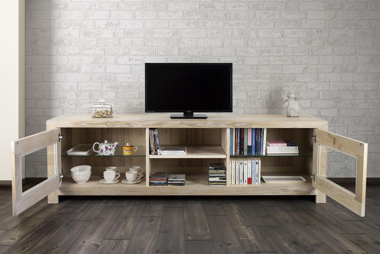 meuble tv 2 portes vitr es loann en ch ne massif de style. Black Bedroom Furniture Sets. Home Design Ideas