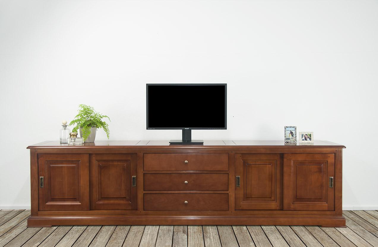 meuble tv 16 9eme lise en merisier massif de style louis. Black Bedroom Furniture Sets. Home Design Ideas