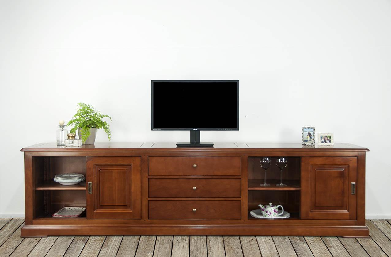 Meuble tv 16 9eme lise en merisier massif de style louis philippe 4 portes 3 tiroirs meuble en - Meuble merisier style louis philippe ...