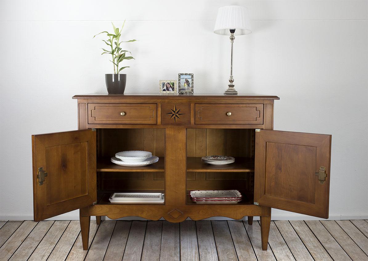 buffet 2 portes 2 tiroirs rose des vents en merisier massif de style directoire meuble en. Black Bedroom Furniture Sets. Home Design Ideas