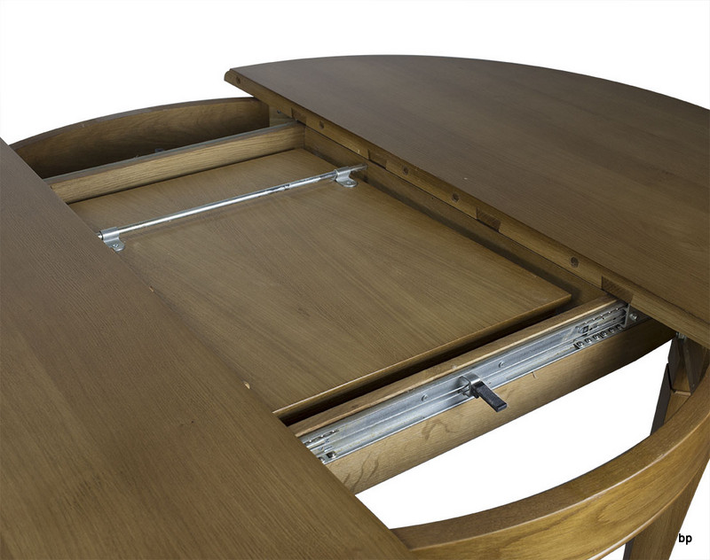 table ronde 4 pieds marc en ch ne massif de style louis philippe diam tre 105 1 allonge. Black Bedroom Furniture Sets. Home Design Ideas