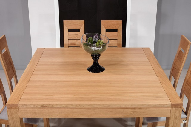 Table de salle manger 140x140 contemporaine en ch ne meuble en ch ne massif - Table de salle a manger en chene ...
