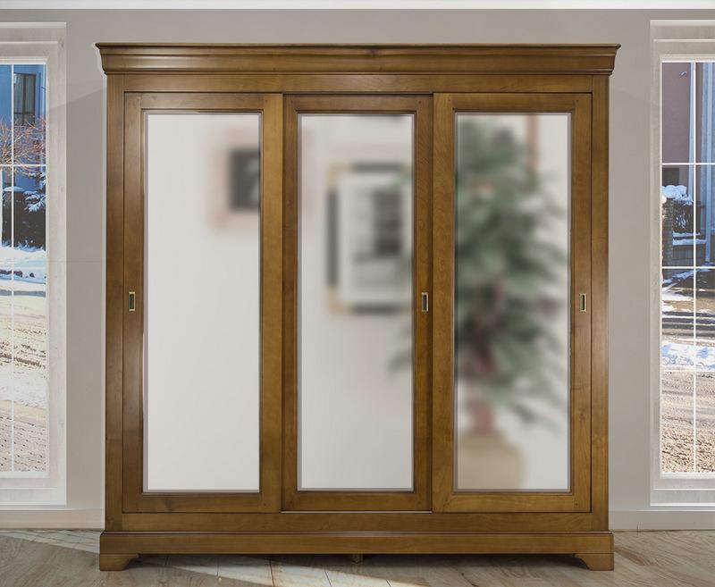 armoire 3 portes christine en merisier massif de style louis philippe portes coulissantes. Black Bedroom Furniture Sets. Home Design Ideas
