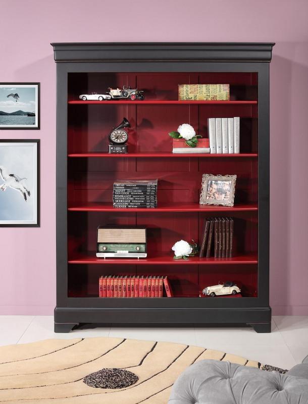 Biblioth que en merisier massif de style louis philippe finition noir et bordeaux patin - Meuble patine rouge ...