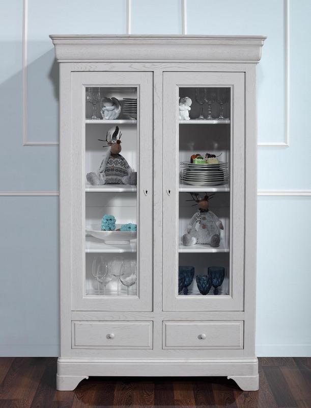 biblioth que 2 portes louis en ch ne massif de style louis philippe finition ch ne bross gris. Black Bedroom Furniture Sets. Home Design Ideas