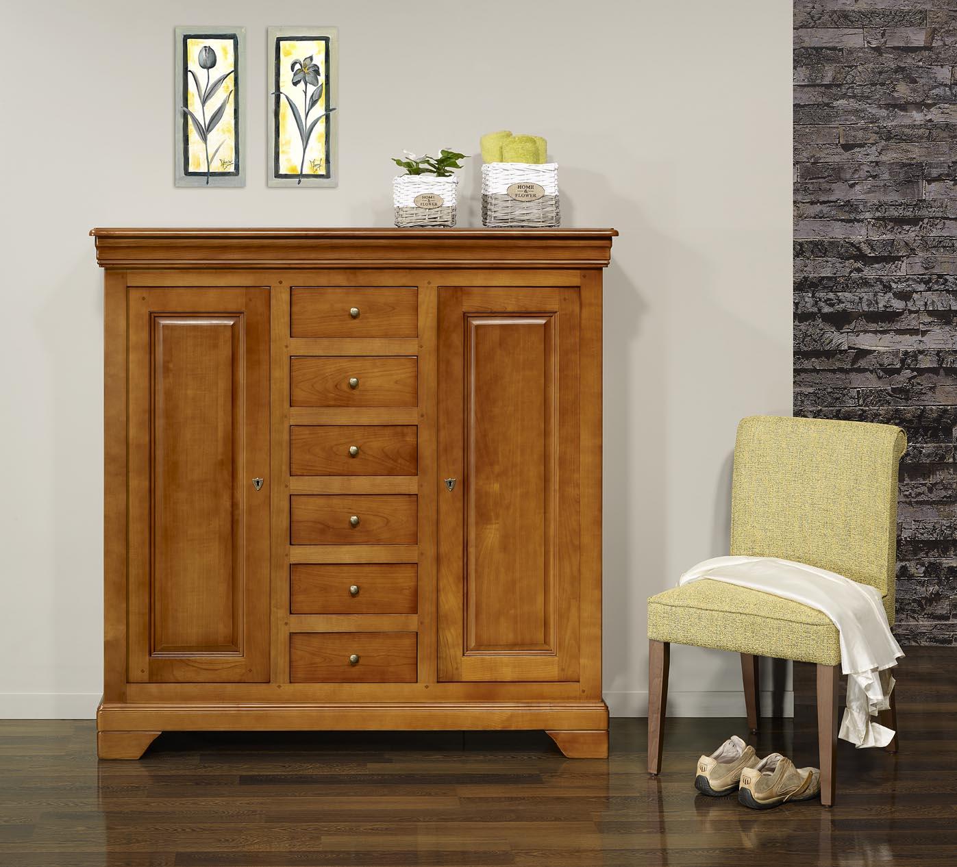 Bahut 2 portes 6 tiroirs en merisier massif de style louis for Soldes portes interieures