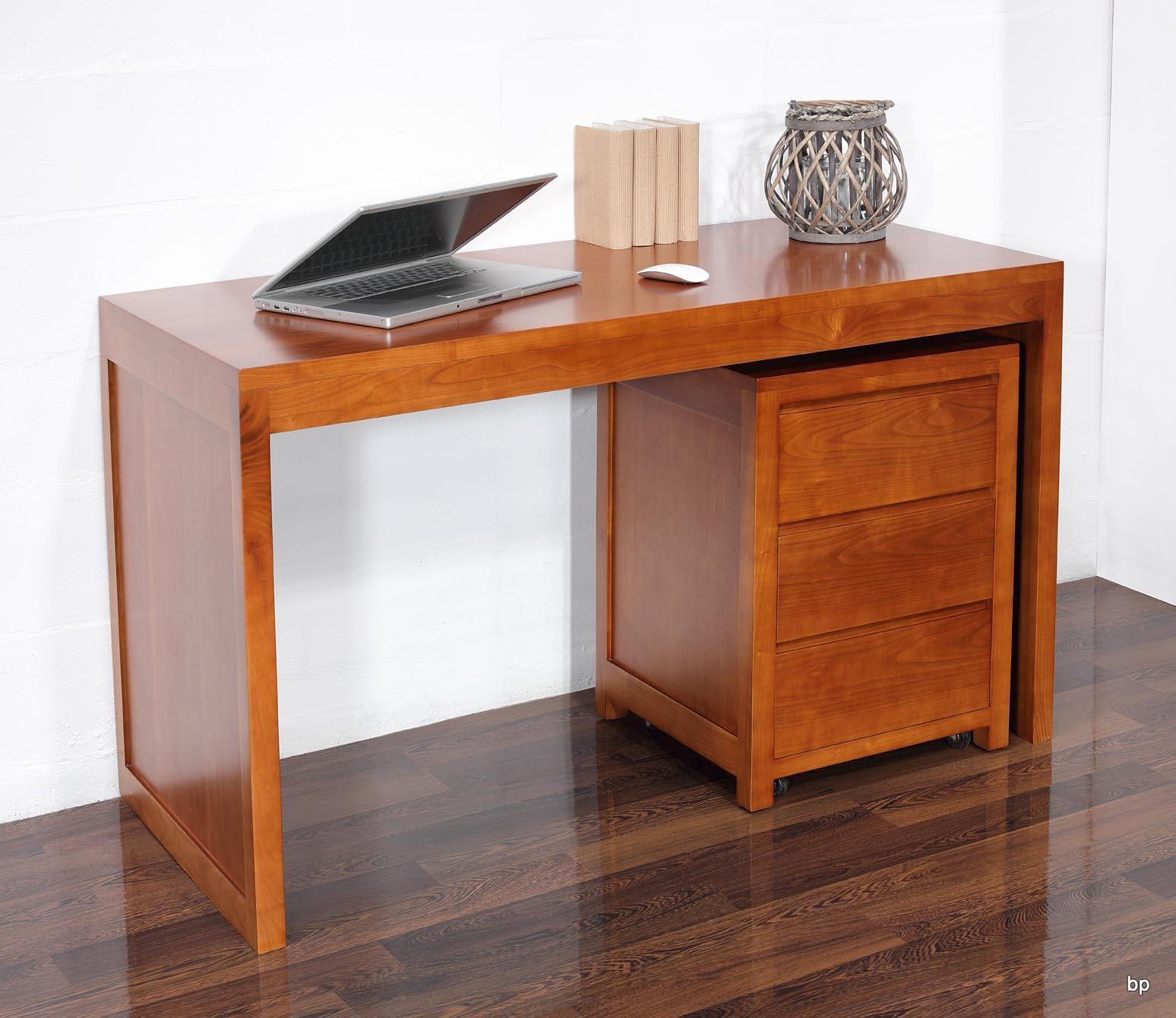 bureau contemporain en merisier accompagn de son caisson de 3 tiroirs sur roulettes meuble en. Black Bedroom Furniture Sets. Home Design Ideas