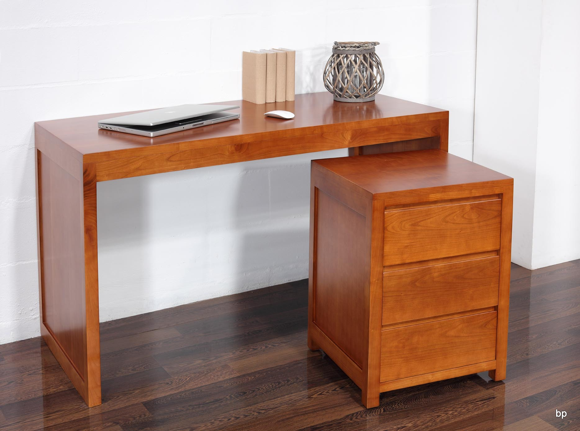 Bureau contemporain en merisier accompagn de son caisson for Meuble tiroir sous bureau