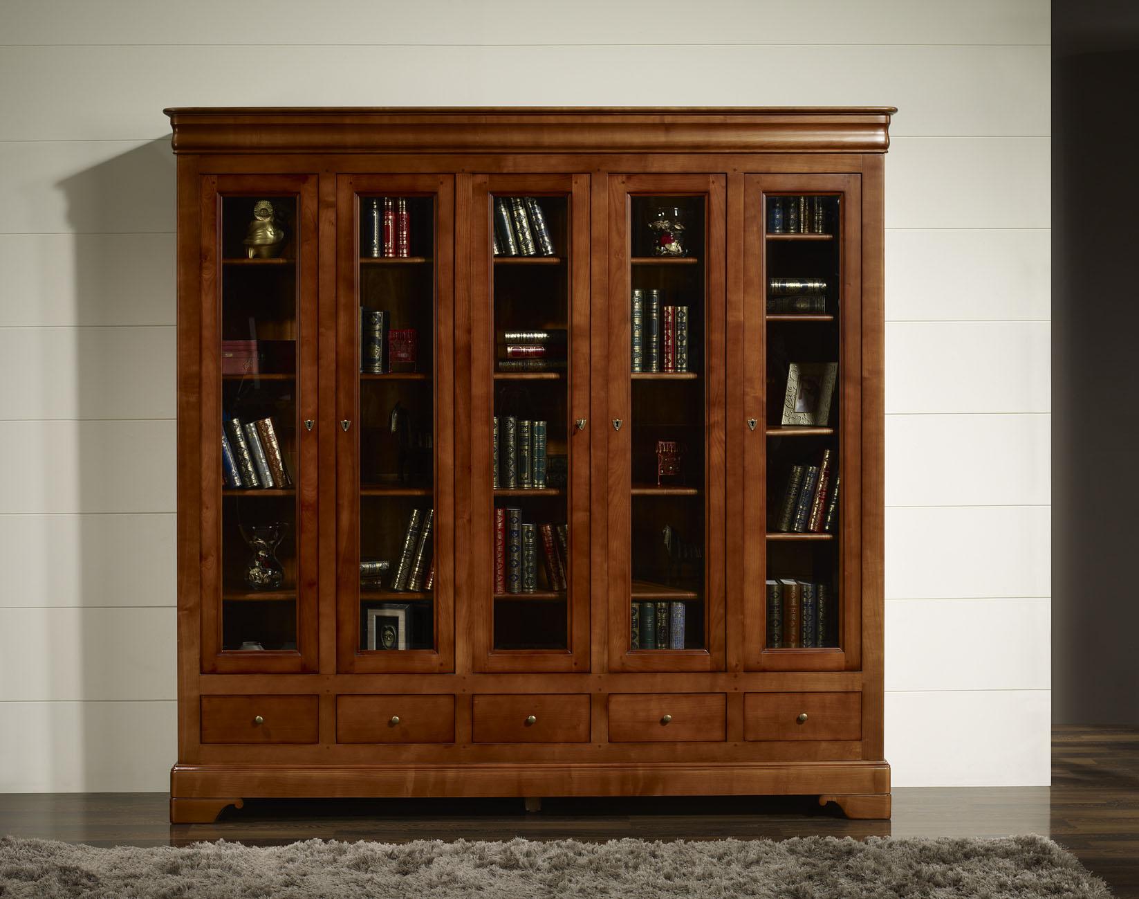 biblioth que ethan 5 portes 5 tiroirs en merisier massif de style louis philippe meuble en. Black Bedroom Furniture Sets. Home Design Ideas