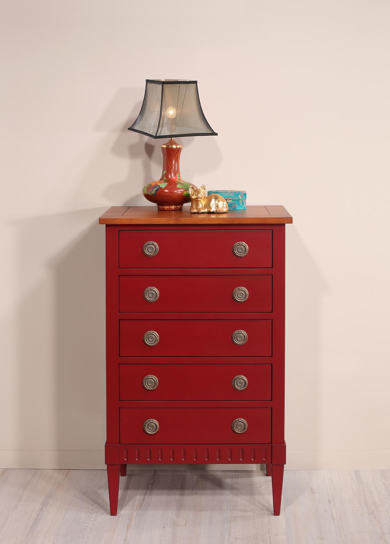 Commode 5 tiroirs judith en merisier de style directoire finition rouge patin meuble en - Meuble patine rouge ...