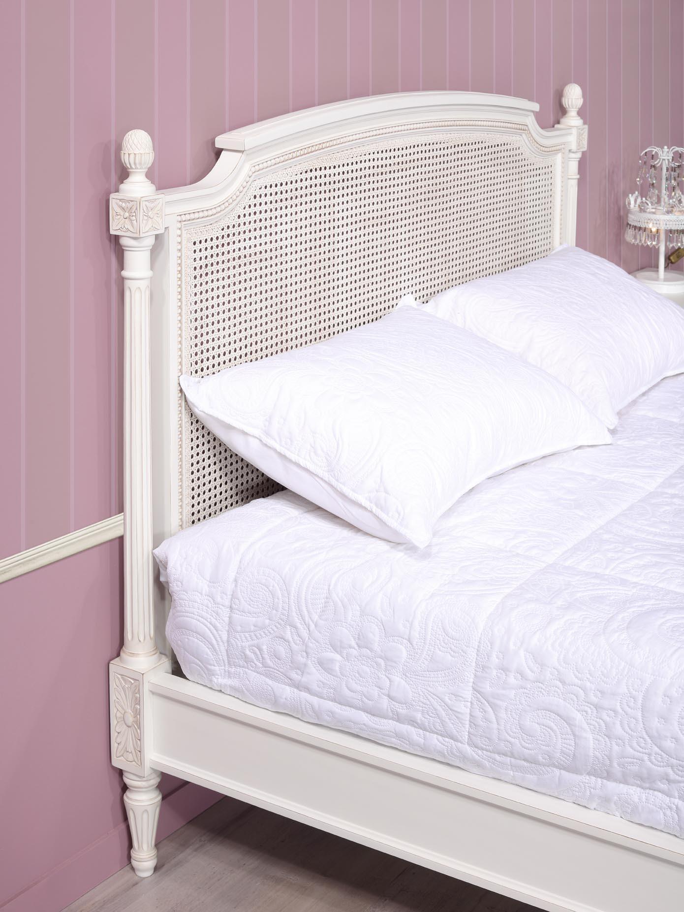 lit victoire en merisier de style louis xvi t te de lit cann e meuble en merisier massif. Black Bedroom Furniture Sets. Home Design Ideas