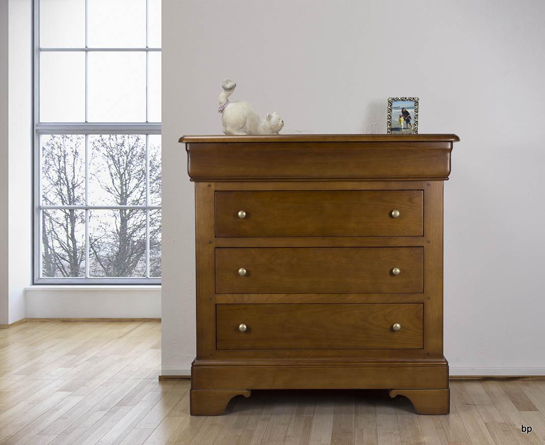 Commode 4 tiroirs en merisier massif de style louis philippe largeur 935 cm meuble en merisier - Commode merisier louis philippe ...