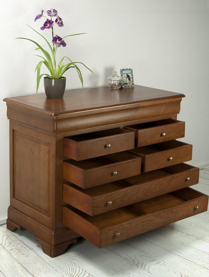 commode 7 tiroirs en ch ne massif de style louis philippe. Black Bedroom Furniture Sets. Home Design Ideas