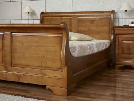 lit bateau jean manuel 140x190 en merisier massif de style louis philippe meuble en merisier. Black Bedroom Furniture Sets. Home Design Ideas