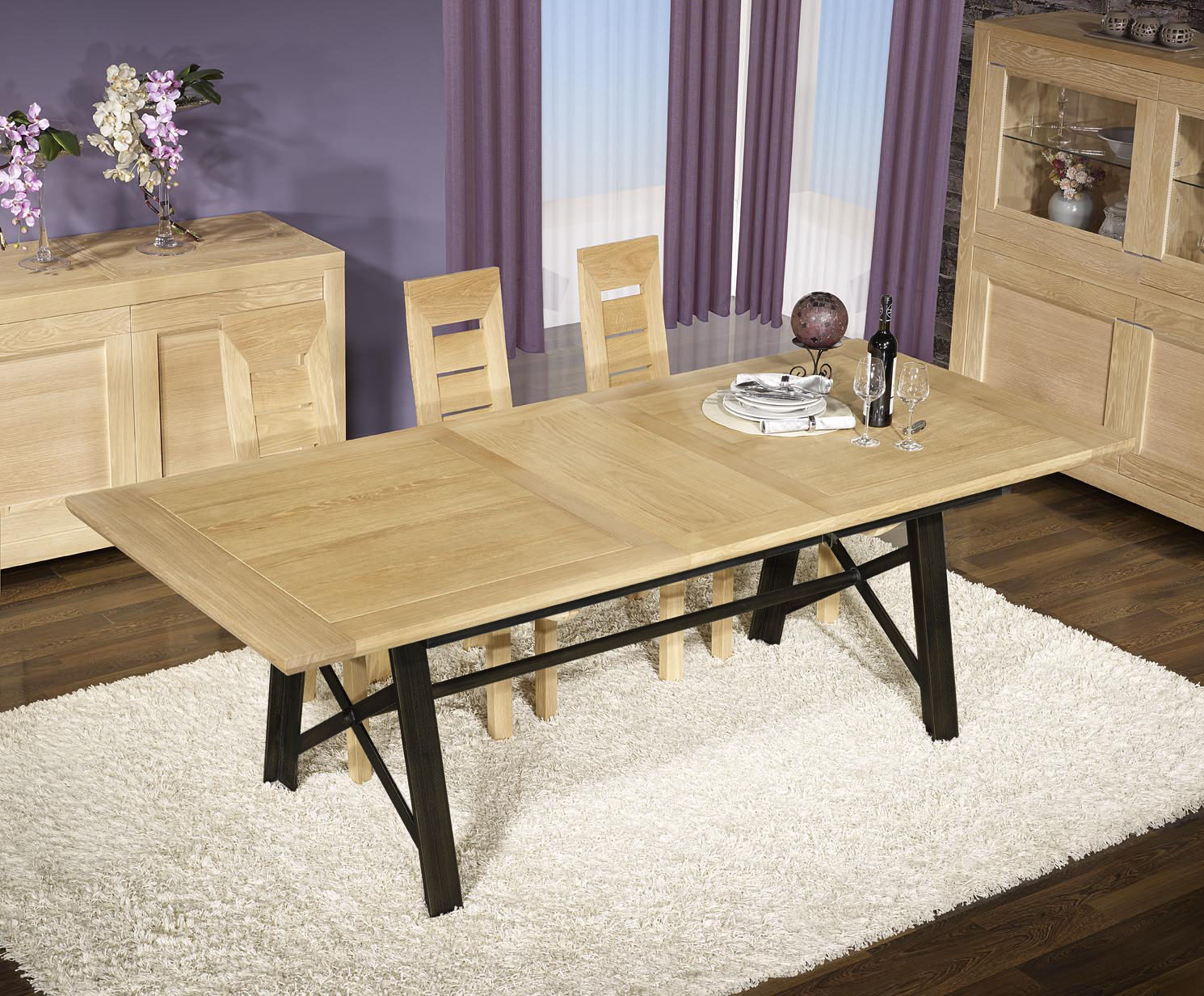 table rectangulaire loann en ch ne et fer 190x100 avec 2 allonges de 45 cm meuble en ch ne massif. Black Bedroom Furniture Sets. Home Design Ideas