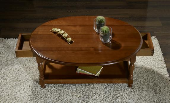 Table basse ovale volets en merisier massif de style - Table de salon ovale ...