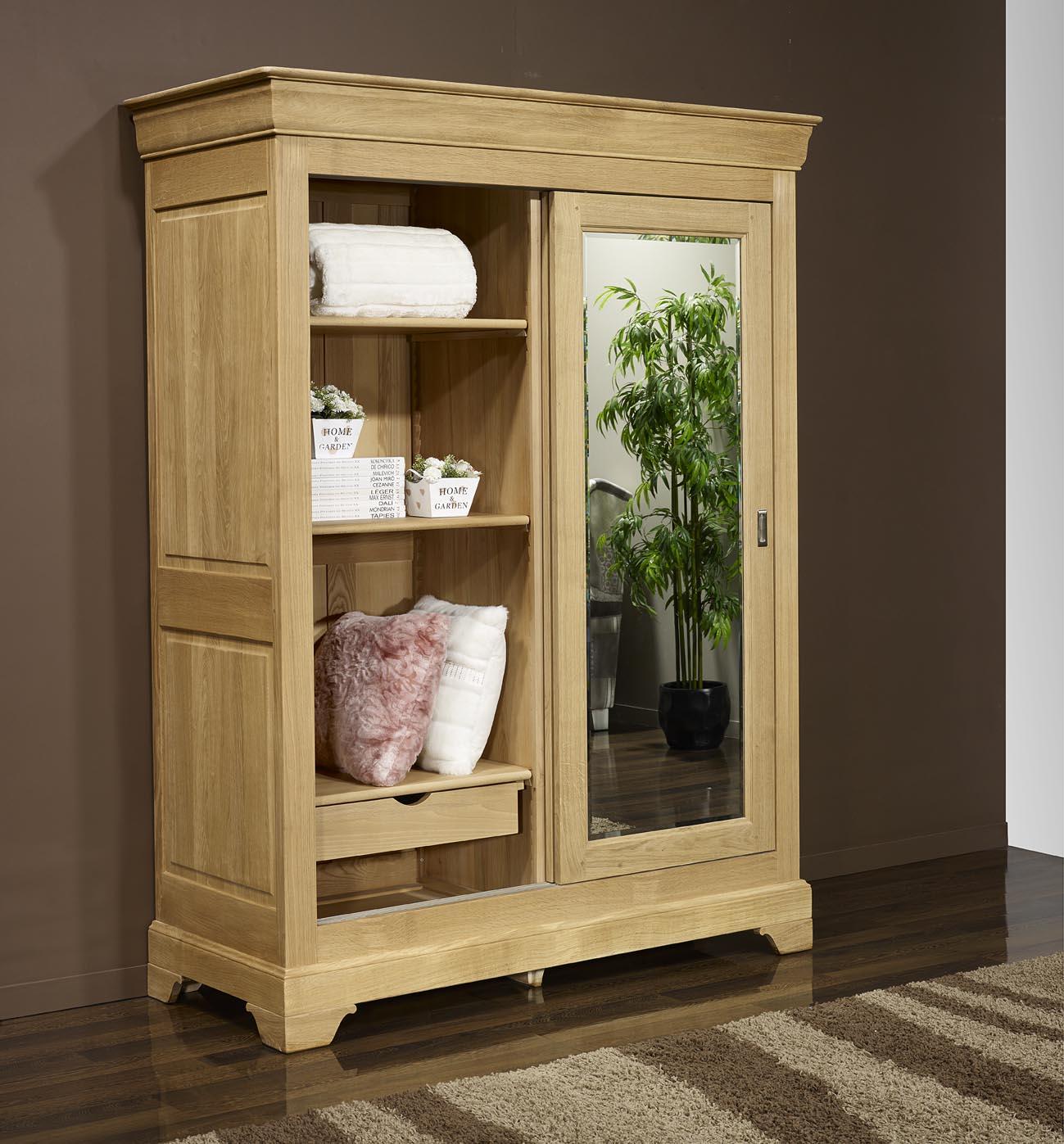 armoire 2 portes jean olivier en ch ne massif de style. Black Bedroom Furniture Sets. Home Design Ideas