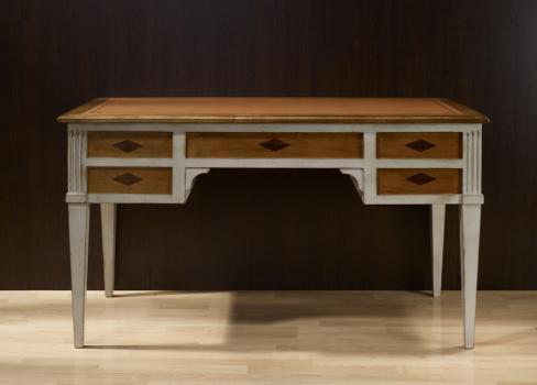 bureau ministre en merisier massif de style directoire patine gris use meuble en merisier massif. Black Bedroom Furniture Sets. Home Design Ideas