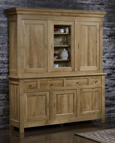 bahut 2 corps 6 portes 4 tiroirs en ch ne massif de style campagnard meuble en ch ne massif. Black Bedroom Furniture Sets. Home Design Ideas