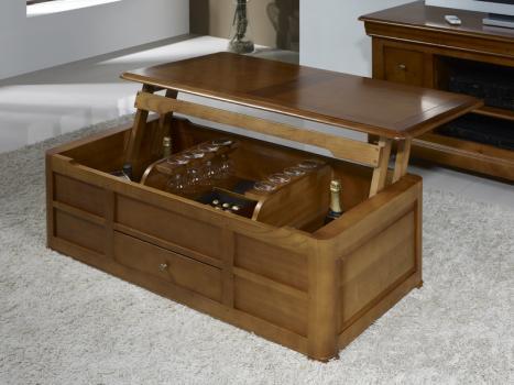 Table basse bar ine en merisier de style louis philippe - Table basse relevable en bois ...