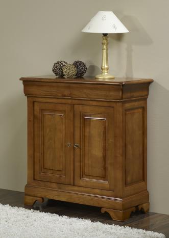 Petit buffet 2 portes st phanie en merisier massif de for Petits meubles en bois