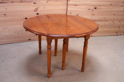 d332c6404d80c Table ronde à volets DIAMETRE 120 en merisier massif de style Louis philippe  3 allonges de 40 cm