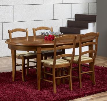 table ovale de salle manger estelle en merisier massif de style louis phili. Black Bedroom Furniture Sets. Home Design Ideas