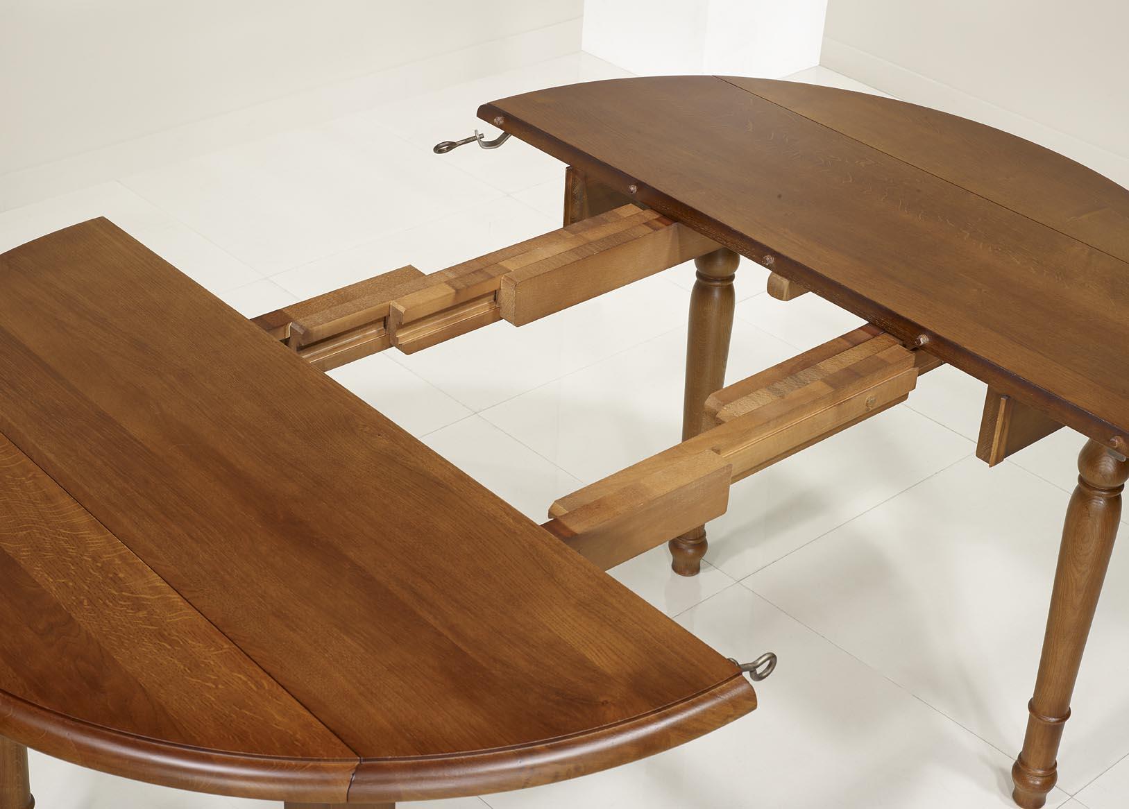 Table ronde volets simon en ch ne massif de style louis for Table ronde bois massif