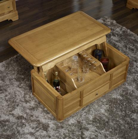Table bar aur lien en ch ne de style louis philippe for Table bar bois massif