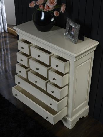 Commode 11 tiroirs anne laure en merisier massif de style louis philippe patine creme meuble - Commode louis philippe merisier ...