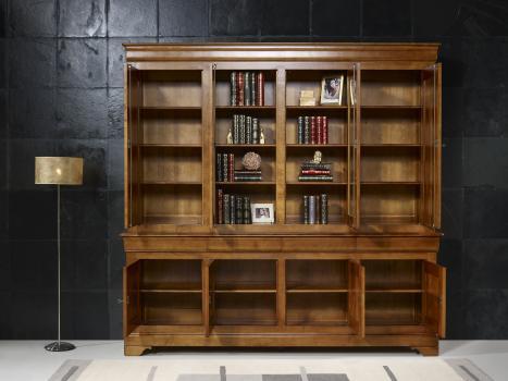 Biblioth que 2 corps 4 portes en merisier massif de style - Meuble bibliotheque pas cher ...