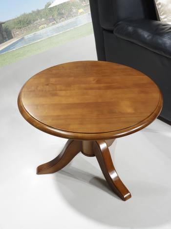 Table basse ronde annie en merisier massif de style louis - Petite table basse ronde ...
