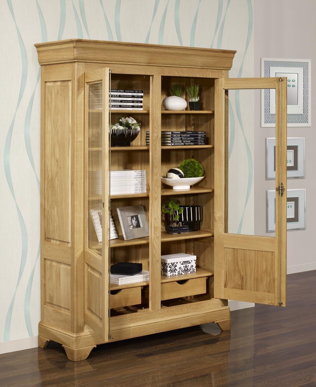 Biblioth que 2 portes en ch ne massif de style louis philippe meuble en ch - Bibliotheque bois massif ikea ...