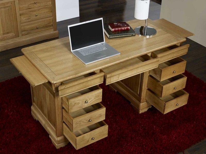 Bureau ministre 9 tiroirs en ch ne massif de style louis - Meuble bureau en bois ...