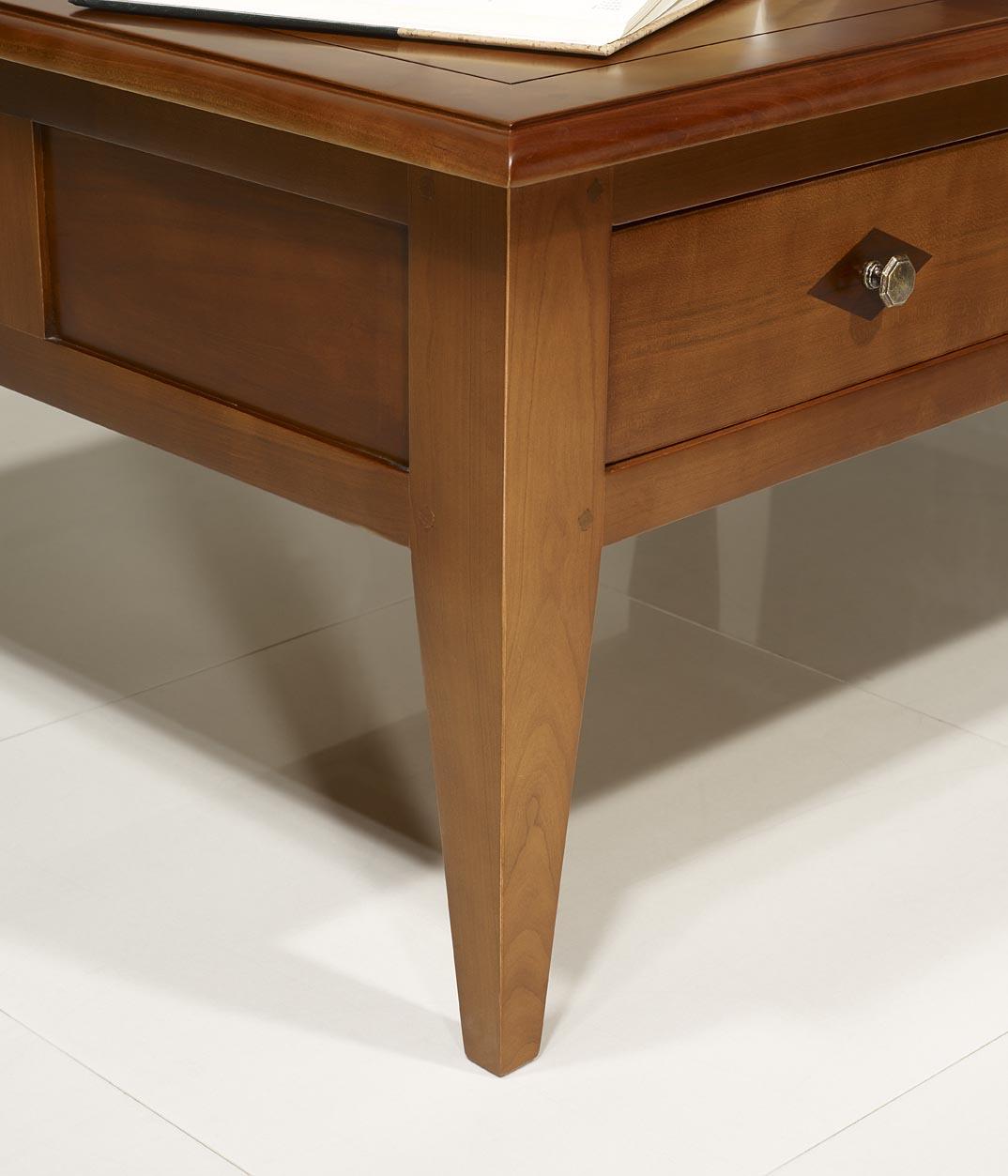 Table Basse rectangulaire 100x80 en merisier de style Directoire ...