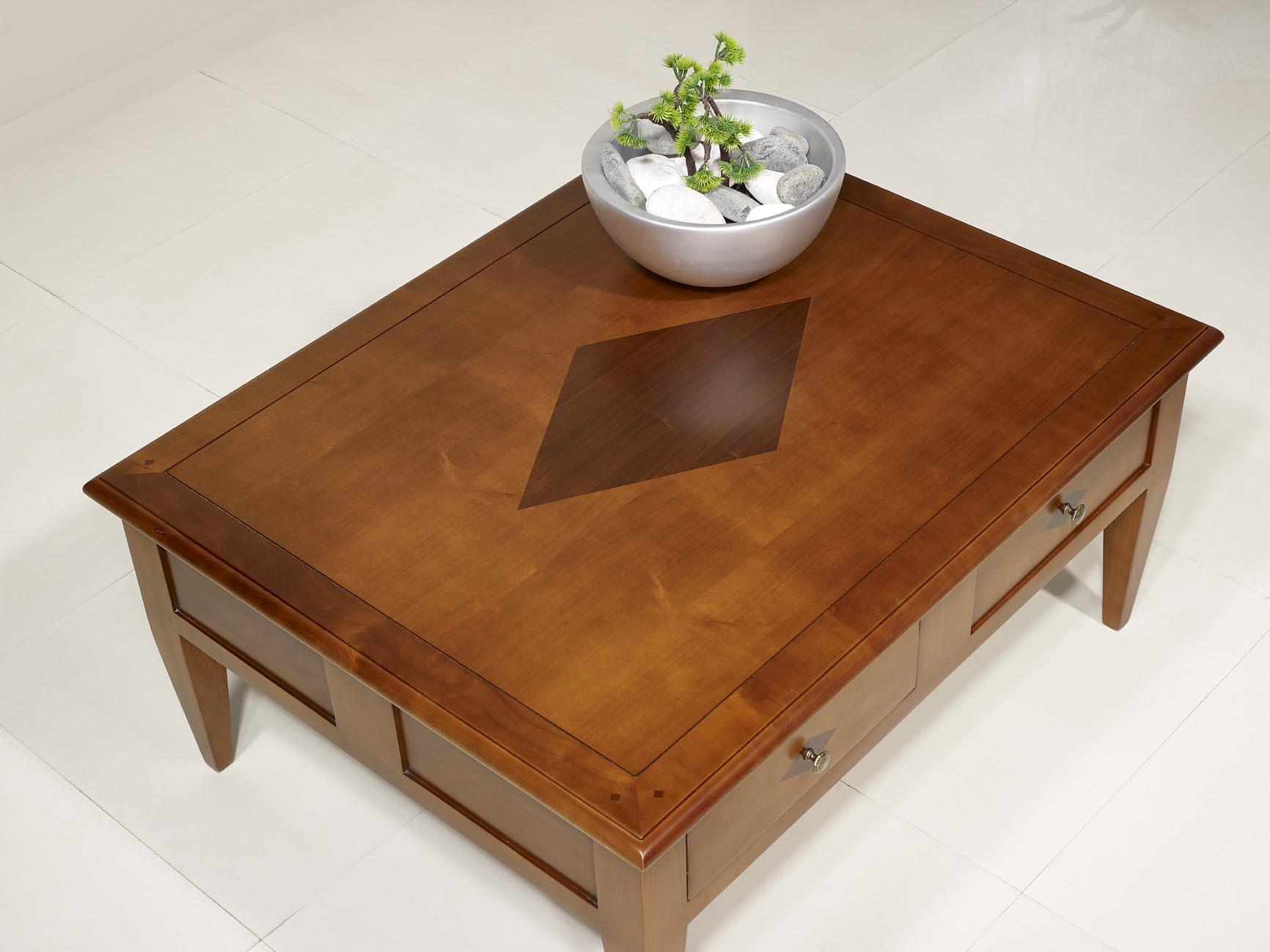 table basse rectangulaire 100x80 en merisier de style directoire meuble en merisier massif. Black Bedroom Furniture Sets. Home Design Ideas