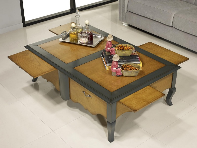 Table basse rectangulaire zo de style louis xv en merisier meuble en merisier massif - Table basse style louis xv ...